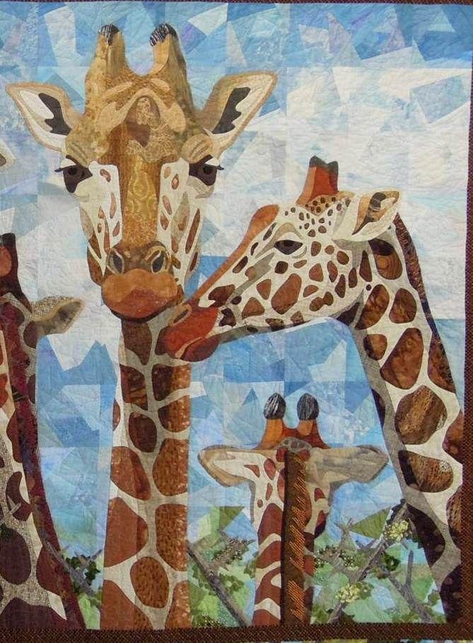 Giraffes, 68 x 50, by Nancy S. Brown, 2013 DVQG featured artist. close up photo by Quilt Inspiration