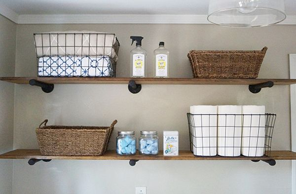 Inspiration to keep laundray room organized---->DIY Laundry Room Shelves and Storage Ideas