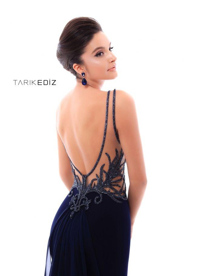 757c6ec9ba Tarik Ediz- Evening 2018 Collection Style  93491 - Mermaid dress with  embroidery details and chiffon train.