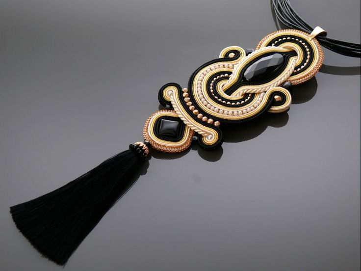 Black gold ecru Soutache necklace with Onyx. by ANBijou on Etsy
