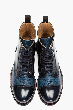 CARVEN blue pebbled leather CHAUS MONTANTE boots