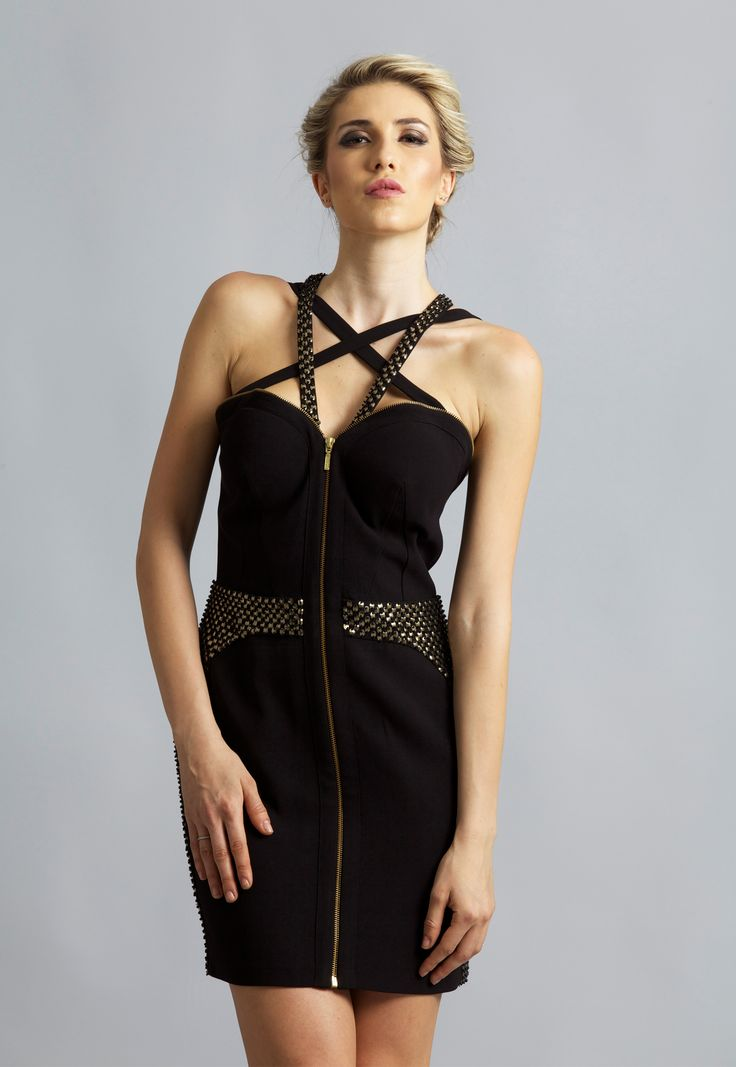 Constructed in a combination of black and gold, this dress shapes your body like a boneless corset for a contoured fit. Wear it with metallic accessories to match the sequins trims.