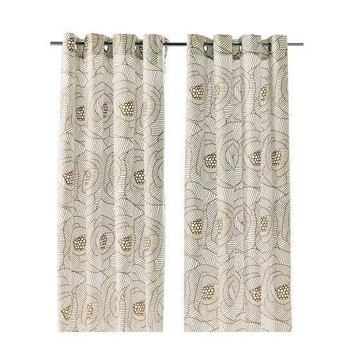 For living room.  Affordable, like the print.  Would tie in nicely with your color scheme and eclectic vibe. INGERLISE Curtains, 1 pair   - IKEA