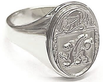 Womens Silver Family Crest / Signet Ring