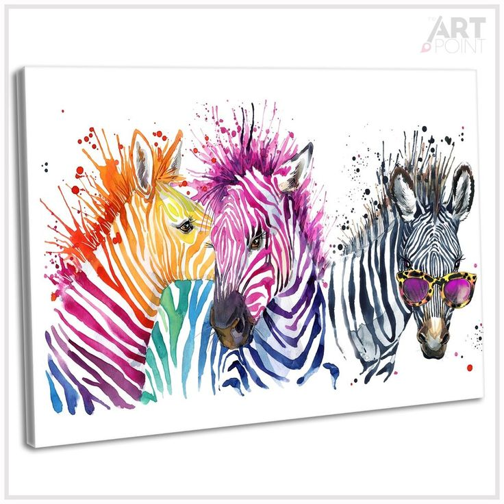 Multicoloured Zebra Abstract Watercolour Canvas Print Framed Wall Art Picture  | eBay