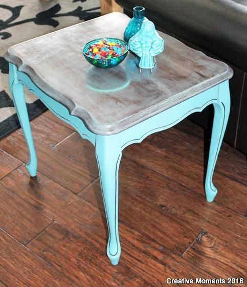 GF Key West Blue Chalk Style Paint End Table | Created by Creative Moments ~ http://creativemoments10.blogspot.ca/