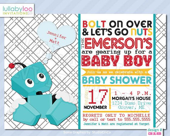 Baby Boy Baby Shower Invitations ROBOT 318 by LullabyLoo on Etsy, $18.00