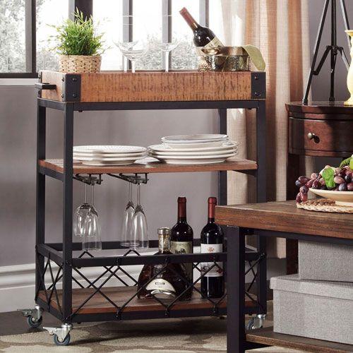 Ashburne Espresso Rustic Bar Cart HomeHills Bar Carts Bars & Bar Sets Game Room & Bar Furn