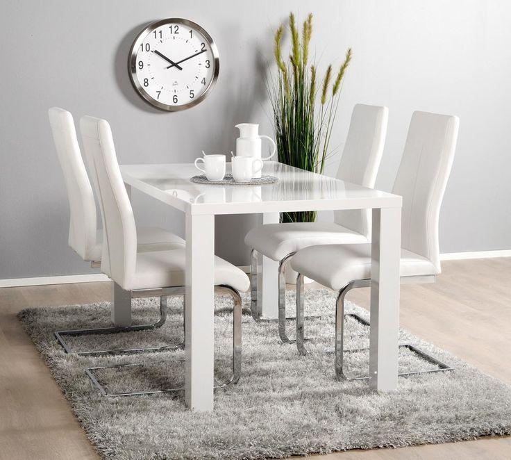 ICE ruokailuryhmä korkeakiilto valkoinen (pöytä 140x80cm+4 tuolia musta) | Sotka.fi