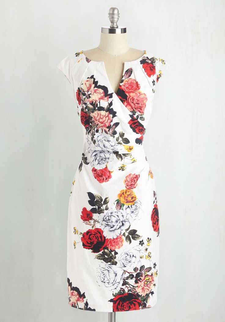 Scholars' Soiree Dress in Cloud - Multi, Floral, Print, Cocktail, Daytime Party, Graduation, Valentine's, Sheath, Cap Sleeves, Spring, Top Rated, Mid-length, Cotton, Woven, Colorsplash
