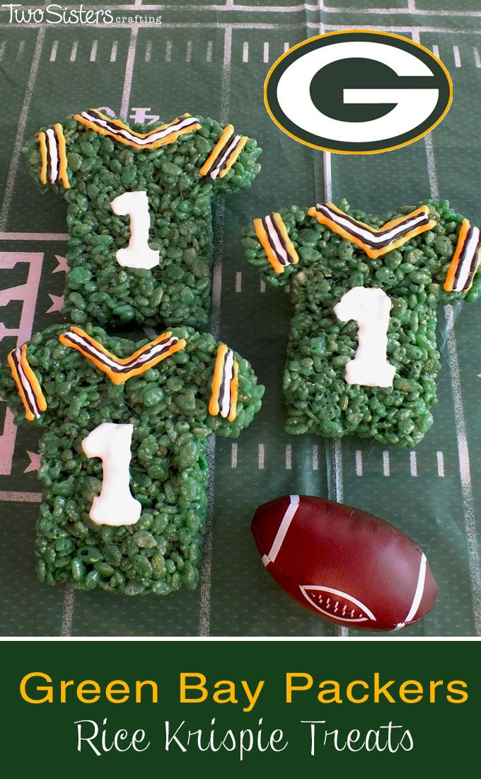 These Green Bay Packers Rice Krispie Treats Team Jerseys are a fun dessert for a game day football party, an NFL playoff party, a Super Bowl party food or as a special snack for the Green Bay Packers fans in your life. For more fun Rice Krispie Treats ideas follow us at http://www.pinterest.com/2SistersCraft/