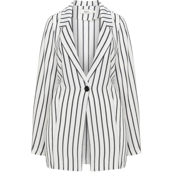 Zizzi Cream / Black Plus Size Striped crêpe blazer ($50) ❤ liked on Polyvore featuring outerwear, jackets, blazers, cream, plus size, stripe blazer, plus size blazers, striped blazer, light weight jacket and plus size two piece