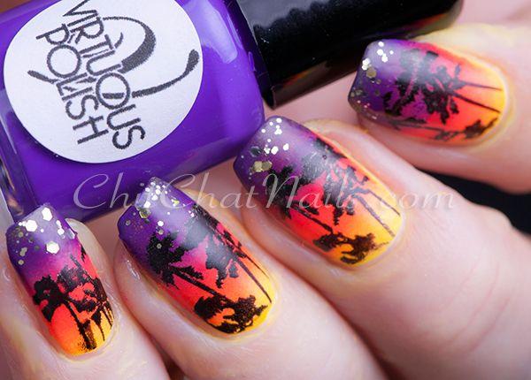 Virtuous Polish Island Nail Art | ChitChatNails - Stamping Nail Art using TopaTopa stamping plate. Palm trees and sunset ... beautiful shades!