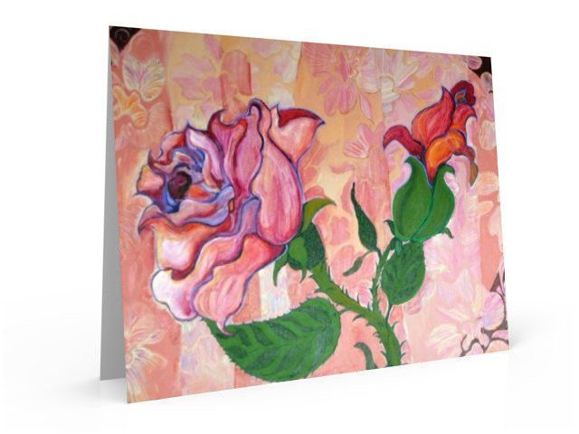 Abstract Rose and rose bud, art note card