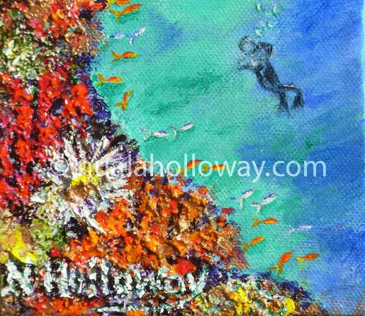 """""""Diver Discovers Hard & Soft Coral (2)"""" by Nuala Holloway - Oil & Sand on Canvas (Part of Nuala's """"Coral Collection"""" bringing attention to the beauty of this important and endangered Oceanic eco-system)  #Coral #Endangered #Ecosystem #Art"""
