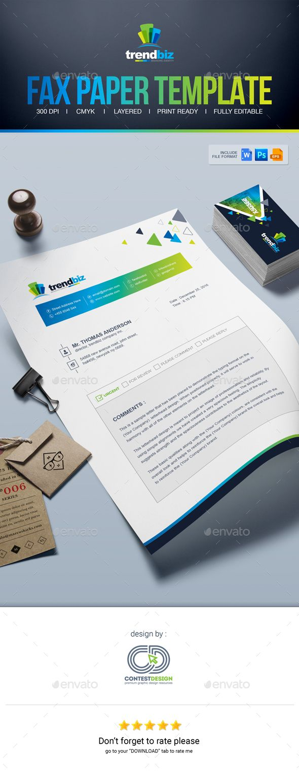 Fax Paper | Cover Sheet | #Letterhead Design Template - #Stationery Print Templates Download here: https://graphicriver.net/item/fax-paper-cover-sheet-letterhead-design-template/19490360?ref=alena994