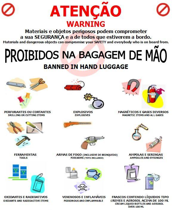 o que é proibido levar na bagagem de mão, viagem