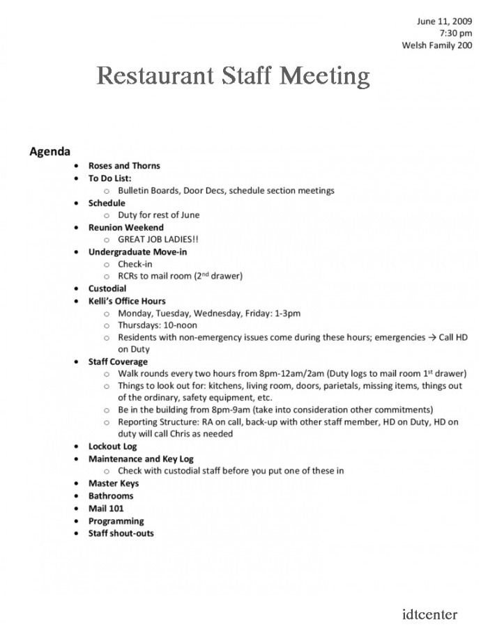 Restaurant Staff Meeting Agenda Template Meeting Agenda Template Meeting Agenda Agenda Template
