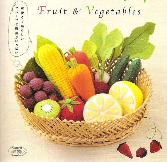 Japanese felt sewing craft ebook-FELT VEGETABLES and FRUITS-instant   download pdf file-ebook#10