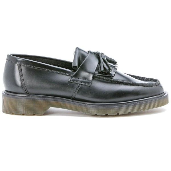 Dr Martens Black Leather Fringed Loafer (215 AUD) ❤ liked on Polyvore featuring shoes, loafers, nero, loafer shoes, dr martens shoes, genuine leather shoes, leather fringe shoes and black loafers