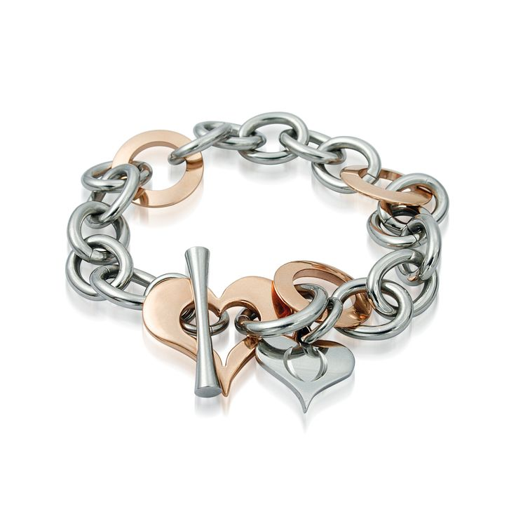 Rose Gold and Stainless Steel Two Tone Bracelet, Rose Gold Heart and Toggle Clasp  http://lily316.com.au/shop/bracelets-ladies-stainless-steel/steel-and-rose-gold-two-tone-bracelet-with-heart/