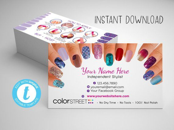 Color Street Business Card Template, Painted Nails ...