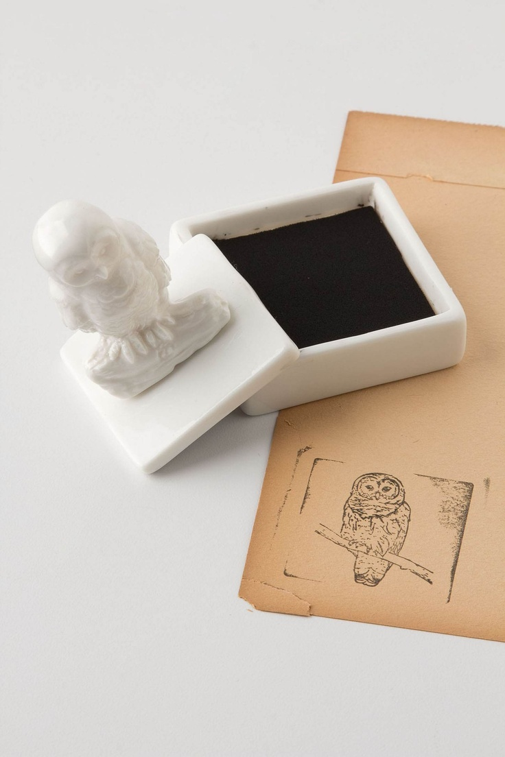 Ceramic Owl Stamper - Anthropologie  Also available in Bee (also a favorite),French Bulldog,Rabbit,Telephone and typewriter.