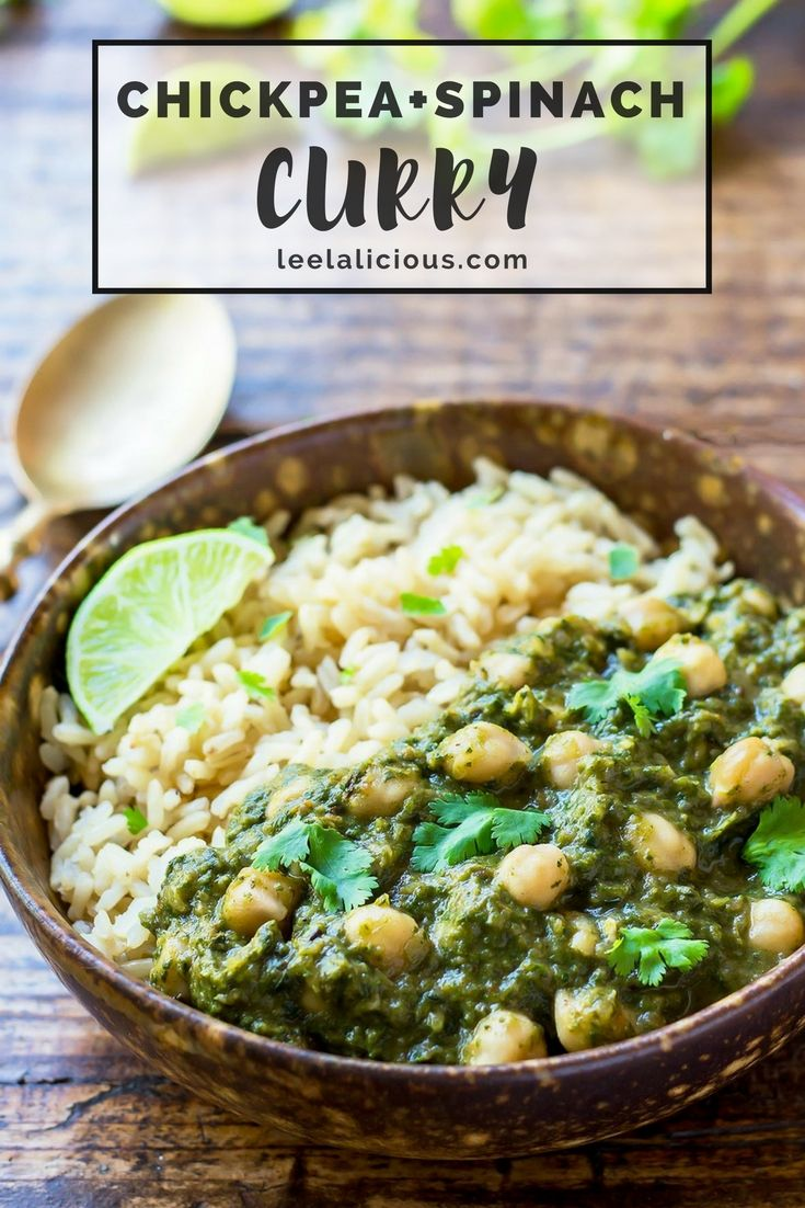 Serve this delicious Indian Chickpea and Spinach Curry (Chana Palak or Chole Palak) over steamed rice for a perfect vegan and gluten free comfort food meal on chilly days.  Indian | Recipe | Healthy | Clean Eating | Vegetarian | Veggie