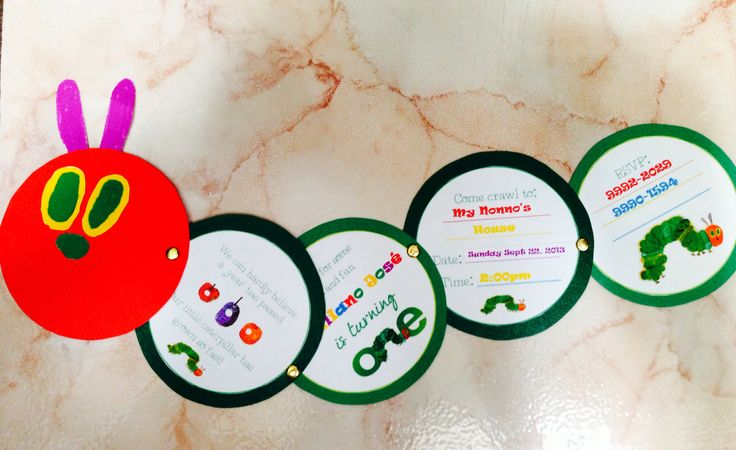 DIY The Very Hungry Caterpillar Birthday Invitations. Download template at http://makeitcozee.blogspot.com/2012/08/diy-very-hungry-caterpillar-invitations.html?m=1