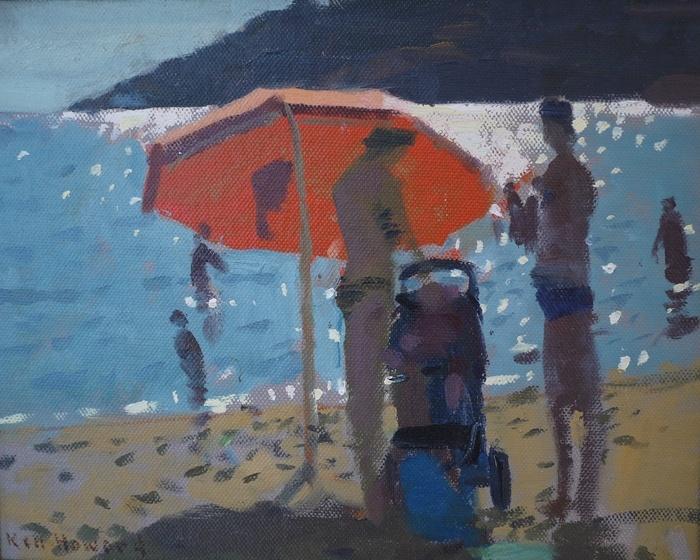 Ken Howard RA,'The Orange Umbrella', oil on board, 20 x 24cm