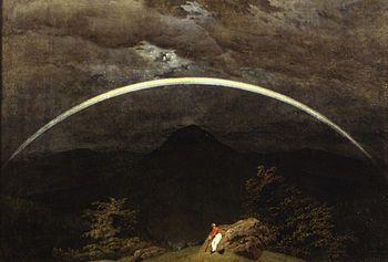 Caspar David Friedrich, PAESAGGIO MONTANO CON ARCOBALENO, 1810, 70 cm x 1,02 m, Colore ad olio, Museum Folkwang di Essen