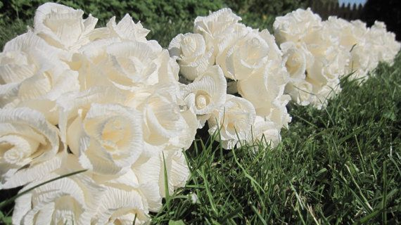 Rustic Wedding bouquet Centerpice IVORY Roses by moniaflowers