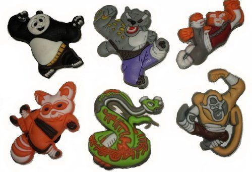 Dreamworks Kung Fu Panda 2 Shoe Charms 6 pc Set - Jibbitz Croc Style by Shoe Charmers. $5.75. Kung Fu Panda 2 is just as popular as the first Movie. Show your favorite Kung Fu Panda characters on your croc style shoes. This hard to find set comes with 6 charms. Collect them all, Mix 'n Match, trade your friends. Other Series Characters include: Super Mario Brothers, Star Wars, Pixar Cars, Kung Fu Panda, Sesame Street, and more. Another great set brought to you by company Sh...