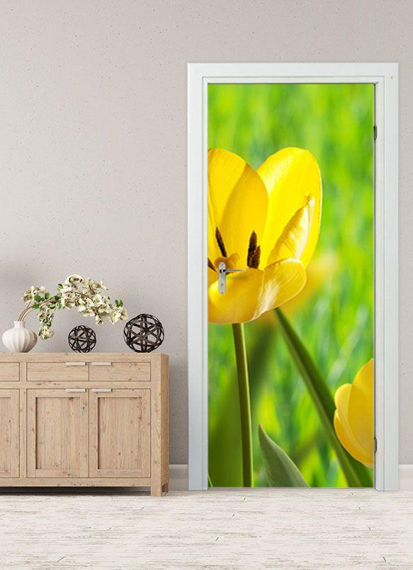 Gelbe #ulpe #Türbild #Türaufkleber #Tür #Deko Türfolie #Blumen Tulpe Gelbe
