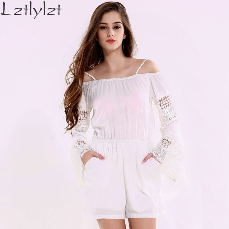 Summer Womens off Shoulder Jumpsuits Brand White Hollow Out long sleeve Playsuit Sexy Backless Rompers jumpsuit Clothes Like if you remember Visit our store