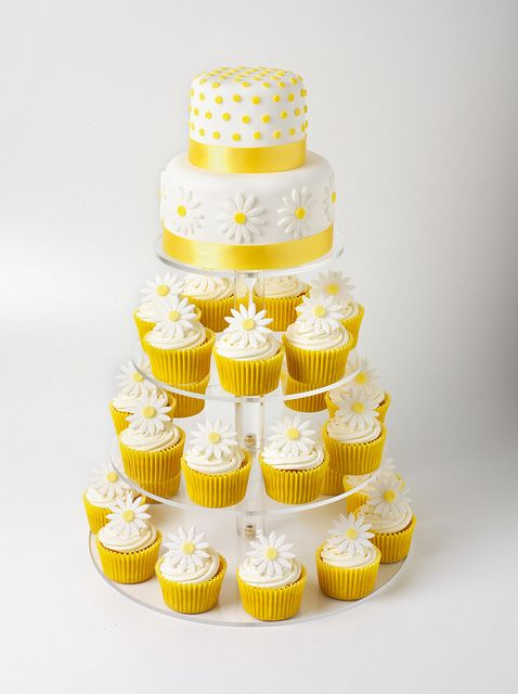 Daisy Cupcake Tower. This setup is perfect for Amanda! And just so happens the yellow is spot on.