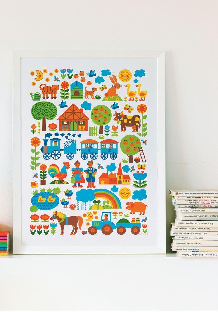 FARM poster ByGraziela — Bodie and Fou - Award-winning inspiring concept store  #kids #bedrooms #prints #affiches #wallart #retro #grazielapreiser #farm  #kids #bedrooms #prints #affiches #wallart #retro #grazielapreiser #farm
