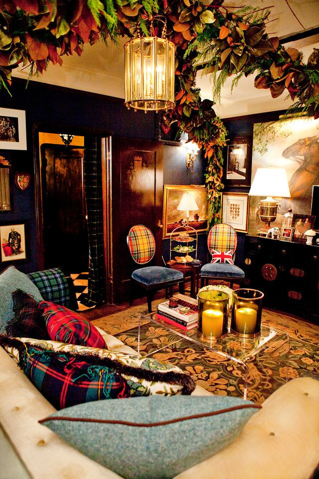"""Absolutely gorgeous room belonging to Scott Meacham Wood """"THE"""" American authority on the world of Tartan."""