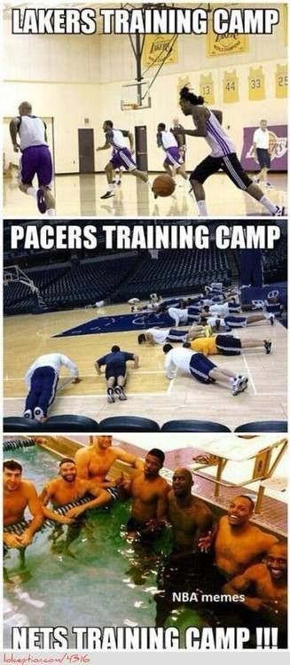 Lakers vs. Pacers vs. Nets Training Camp! - http://weheartokcthunder.com/nba-funny-meme/lakers-vs-pacers-vs-nets-training-camp