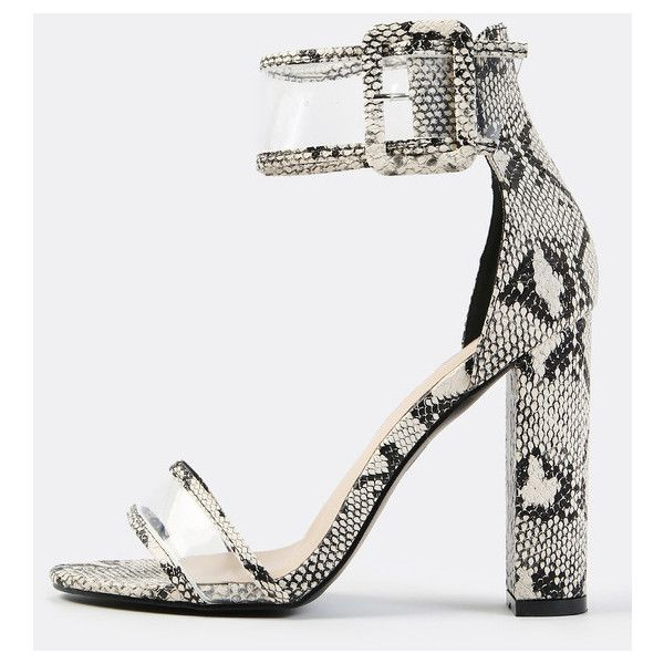 Clear Panel Ankle Strap Reptile Heels SNAKE ($31) ❤ liked on Polyvore featuring shoes, grey, strappy high heel shoes, clear high heel shoes, gray shoes, urban shoes and high heel shoes