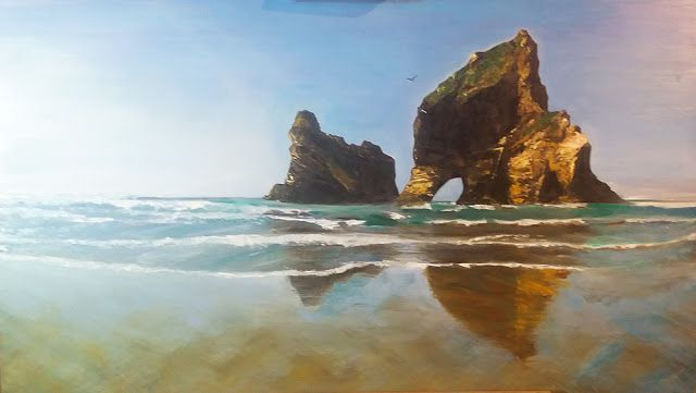 Illuminations Creations : Oil Painting Farewell Spit New Zealand !