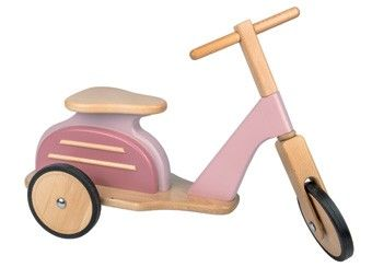 Hübsches rosa 'Vespa' Laufrad aus Holz Moulin Roty   Kindershop Das Kleine Zebra