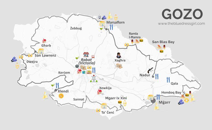 Que faire à Gozo ? J'ai créé une carte détaillée pour résumer les lieux à visiter sur l'île. Cela vous sera utile si vous planifiez un voyage à Malte !
