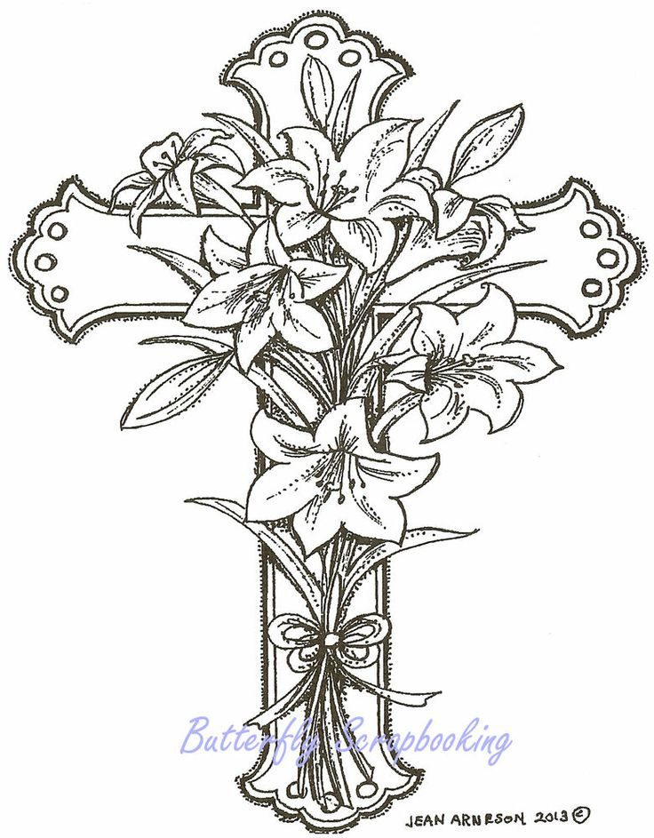 Easter Lily Cross Wood Mounted Rubber Stamp Northwoods