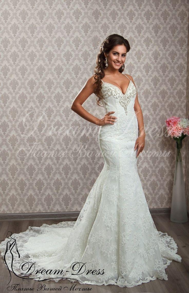 Mariella / Кружевное свадебное платье в стиле Рыбка (Русалка). В наличии изделие в цвете айвори, размер 40-42-44. На заказ возможен любой цвет и размер.