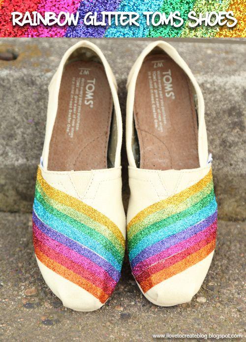iLoveToCreate Blog: Rainbow Glitter Toms Shoes DIY