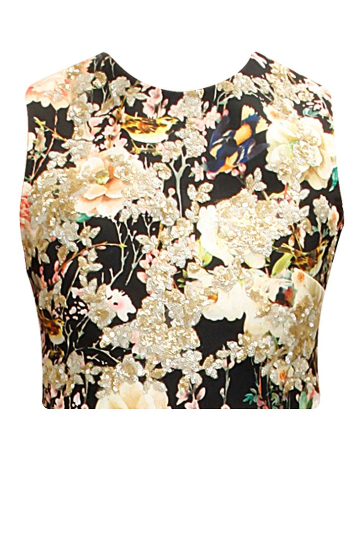 Black floral and bird print crop top by Nishka Lulla. Shop now: www.perniaspopups.... #croptop #designer #nishkalulla #chic #clothing #shopnow #perniaspopupshop #happyshopping