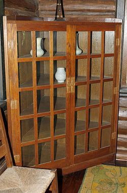 The Stickley Museum At Craftsman Farms Dining Room Corner Cabinets Circa 50 W X 66 H 26 D Oak With Copper Hardware
