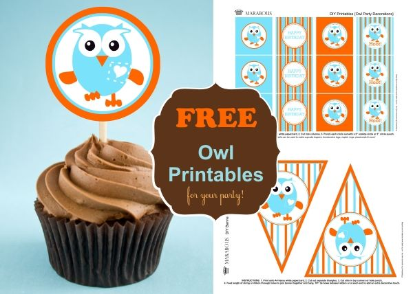 DIY Owl Cupcake Toppers & Bunting Flags (Free printables!!!)