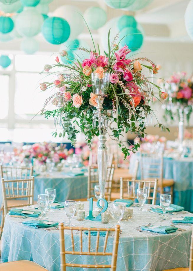 Alexis & Scott {The Dunes Golf & Beach Club} | Wedding Row Grand Strand | centerpieces | coral and teal | paper lanterns | wedding lanterns